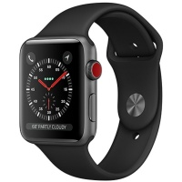 Apple Watch Series 3 (GPS+Cellular) 42mm Space Gray Aluminum Case with Black Sport Band (Черный)