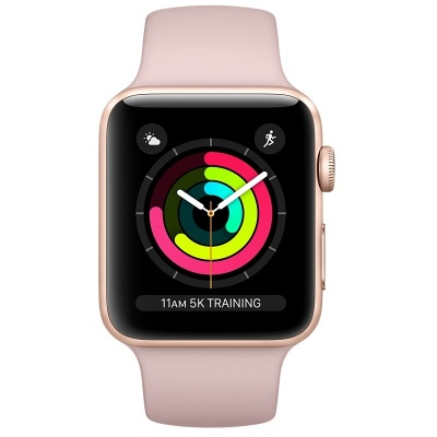Apple Watch Series 3 (GPS) 42 mm Gold Aluminum Case with Pink Sand Sport Band (Розовый песок)