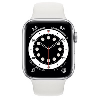 Apple Watch Series 6 (GPS) 44mm Silver Aluminum Case with White Sport Band (Белый)