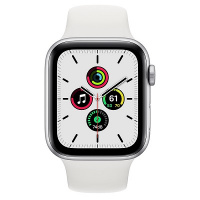Apple Watch SE (GPS) 44 mm Silver Aluminum Case with White Sport Band (Белый)