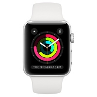 Apple Watch Series 3 (GPS) 42 mm Silver Aluminum Case with White Sport Band (Белый)