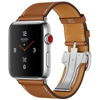 Apple Watch Hermes 42mm Stainless Steel Case/Fauve Barenia Leather Single Tour Deployment Buckle