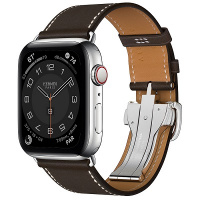Apple Watch Hermes Series 6 44mm Silver Stainless Steel with Ebene Single Tour Deployment Buckle