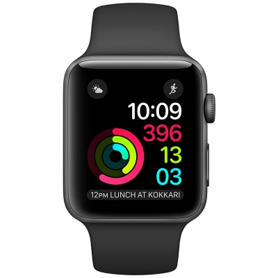 Apple Watch Series 3 (GPS) 38 mm Space Gray Aluminum Case with Black Sport Band (Черный)