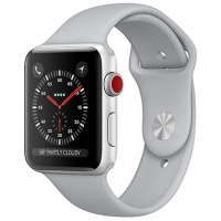 Apple Watch Series 3 (GPS+Cellular) 38 mm Silver Aluminum Case with Fog Sport Band (Дымчатый)