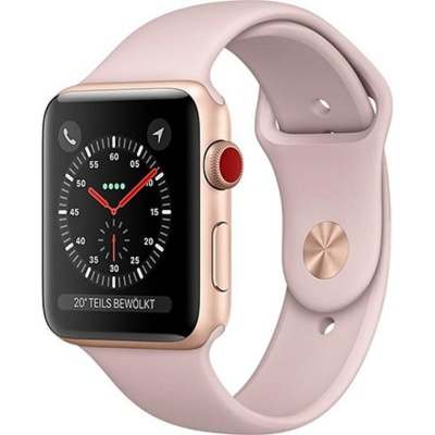 Apple Watch Series 3 (GPS+Cellular) 42 mm Gold Aluminum Case with Pink Sand Sport Band (Розовый)