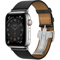 Apple Watch Hermes Series 6 44mm Silver Stainless Steel Case with Noir Single Tour Deployment Buckle