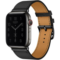 Apple Watch Hermes Series 6 44mm Space Black Stainless Steel with Noir Single Tour