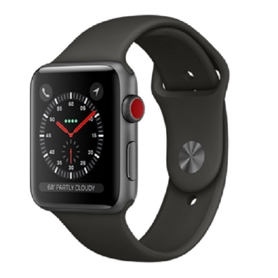 Apple Watch Series 3 (GPS+Cellular) 42mm Space Gray Aluminum Case with Gray Sport Band (Серый)