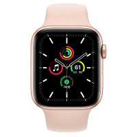 Apple Watch SE (GPS) 44 mm Gold Aluminum Case with Pink Sand Sport Band (Розовый песок)