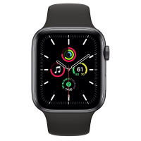 Apple Watch SE (GPS) 44 mm Space Gray Aluminum Case with Black Sport Band (Черный)