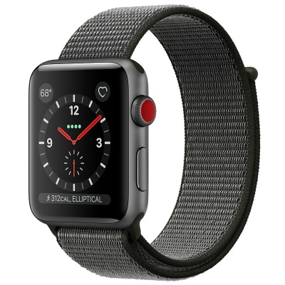 Apple Watch Series 3 (GPS+Cellular) 42 mm Space Gray Aluminum Case/Dark Olive Sport Loop (Оливковый)