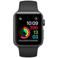 Apple Watch Series 3 (GPS) 42 mm Space Gray Aluminum Case with Black Sport Band (Черный)