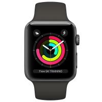 Apple Watch Series 3 (GPS) 38 mm Space Gray Aluminum Case with Gray Sport Band (Серый)
