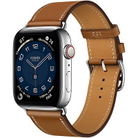 Apple Watch Hermes Series 6 44mm Silver Stainless Steel with Fauve Single Tour
