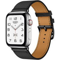Apple Watch Hermes Series 6 44mm Silver Stainless Steel with Noir Single Tour